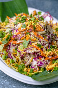 The refreshing Desi Salad packs a lot of crunch with shredded cabbage, carrots, scallions and roasted cashews.